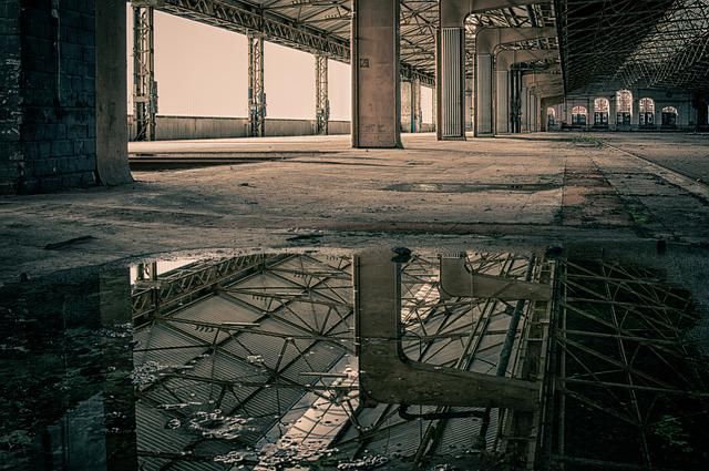 Lost Places, Hall, Pforphoto, Mirroring, Puddle, Water