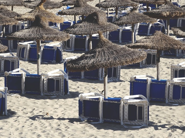 Beach, Sand, Lounge Chairs, Umbrellas, Summer