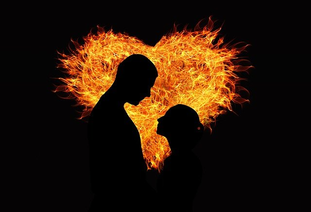 Heart, Love, Flame, Lovers, Man, Woman, Silhouette