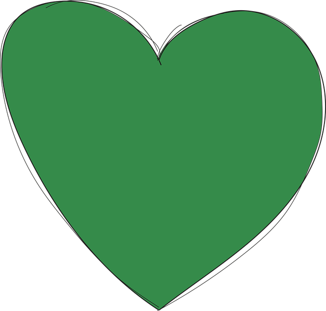 Heart, Green, Love, Drawn By Hand, Form