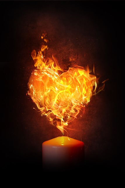 Heart, Fire, Flame, Candle, Burn, Love, Blaze, Heiss