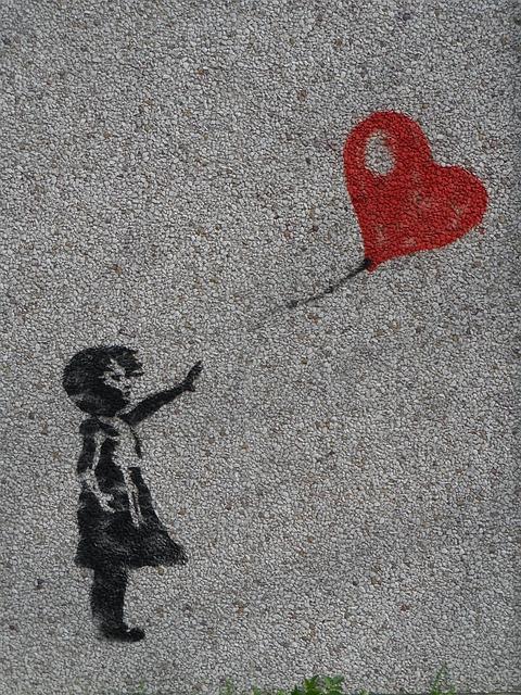 Mural, Girl, Balloon, Heart, Graffiti, Innocent, Love