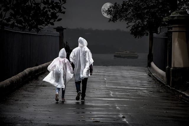 Couple, Relationship, Rain, Moon, Romantic, Love