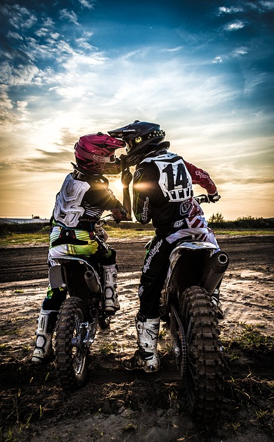 Motocross, Love, Sport, Sunset, Kiss