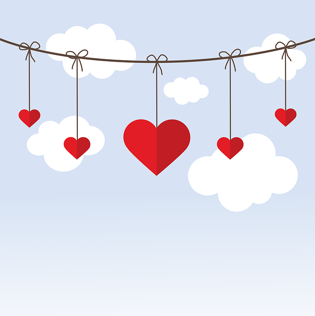 Valentine's Day, Heart, Love, Romantic, Rope, Clouds