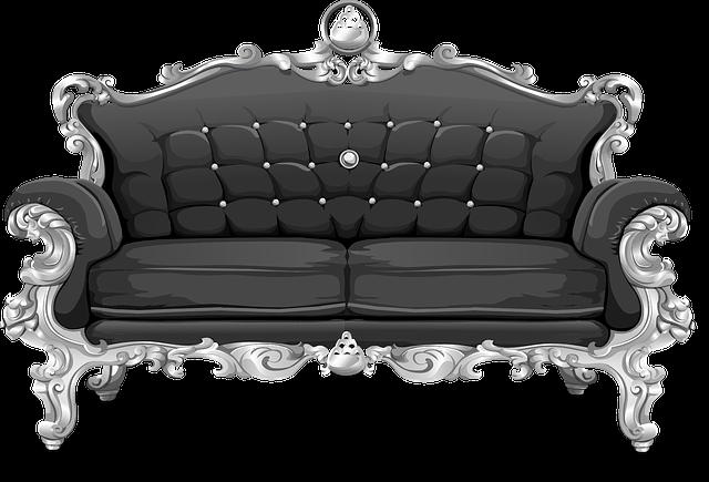 Couch, Sofa, Loveseat, Black, Ornate, Cushions