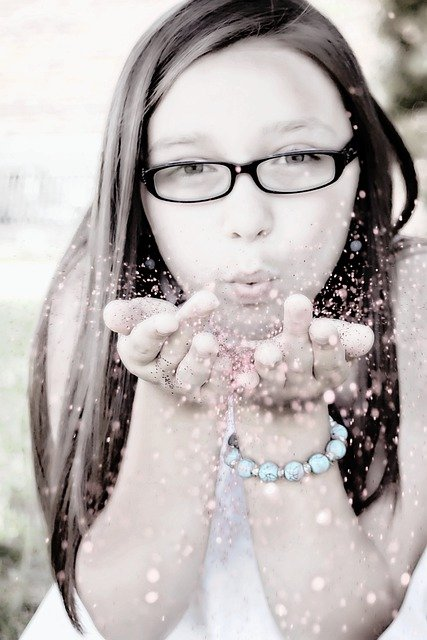 Girl Blowing Glitter, Face, Portrait, Fun, Low Color