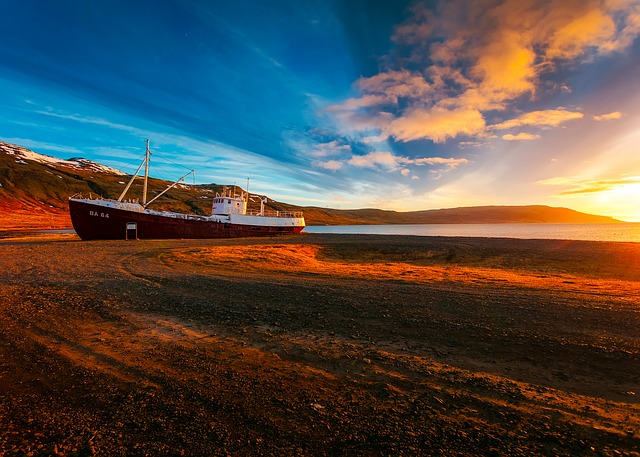 Ship, Boat, Low Tide, Cove, Bay, Water, Sunset, Dusk