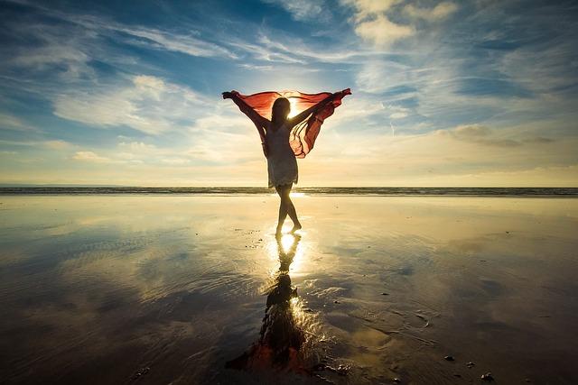 Silhouette, Woman, Sunset, Beach, Ocean, Low Tide