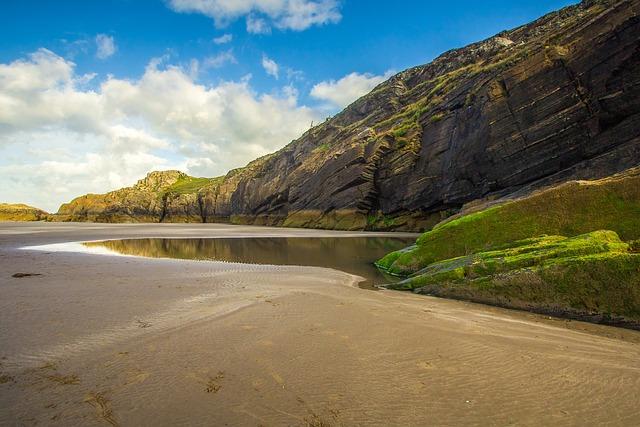 Beach, Ocean, Low Tide, Cave, Cardigan Bay