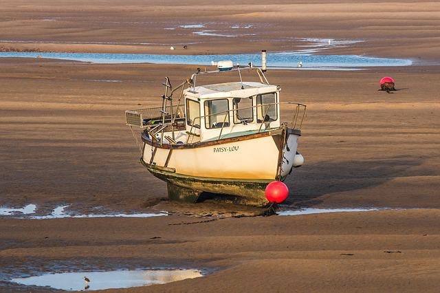 Ship, Low Tide, North Sea, Norfolk, England