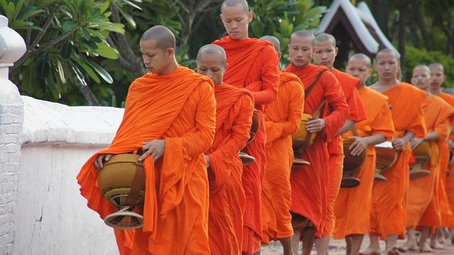 Laos, Luang Prabang, Alms, Monks