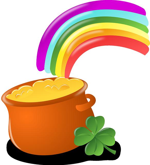 Luck, Rainbow, Gold, Pot, Four-leaf Clover, Shamrock
