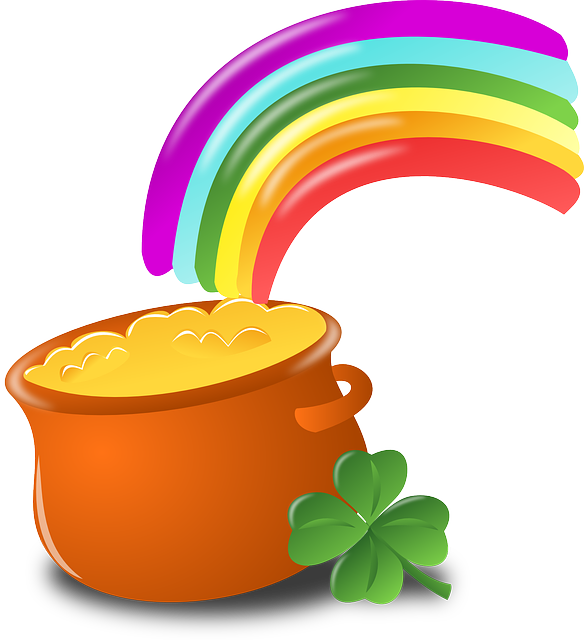 Luck, Rainbow, Gold, Pot, Four-leaf Clover, Shamrock