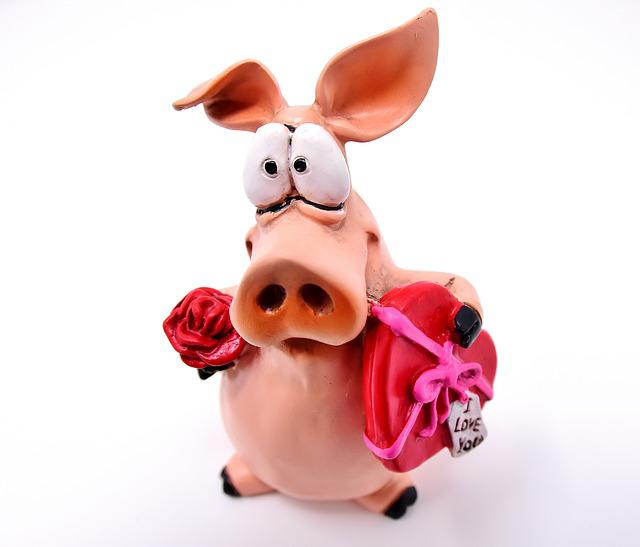 Piglet, Figure, Lucky Pig, Love, Valentine's Day, Heart