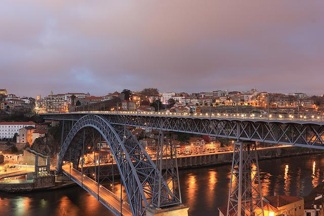 Portugal, Porto, Eifel, Bridge, Evening, Luiz I