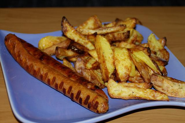 Currywurst, Potato Wedges, Eat, Lunch, Cook, Food