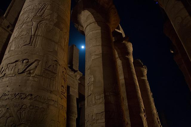 Columns, Egypt, Karnak, Nighttime, Moon, Luxor, Ancient