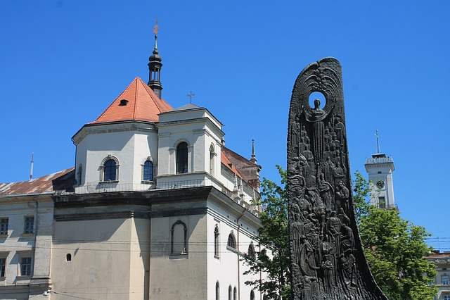 Ukraine, Lviv, Old Town, Monument, Taras Shevchenko