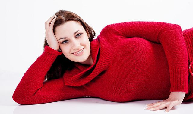 Young, Woman, Female, Smiling, Lying Down, Jumper, Red