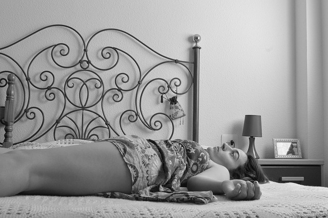 Composition, Women, Lying Down, Bed, Tired, Lines