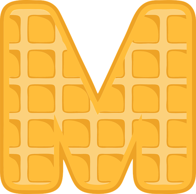 M, Alphabet, Waffle, Letter, Typography, Text, Font