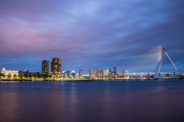 Rotterdam, Skyline, Bridge, Erasmus, Evening, Maas