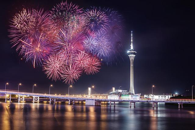 Fireworks, Macau, Tower, Night, Sightseeing