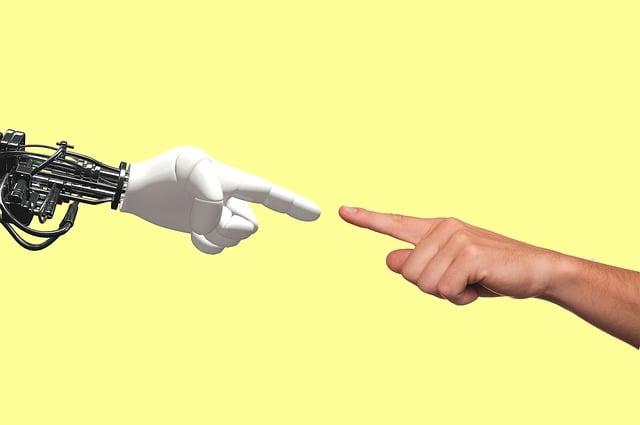 Technology, Robot, Human, Hand, Pointing, Machine