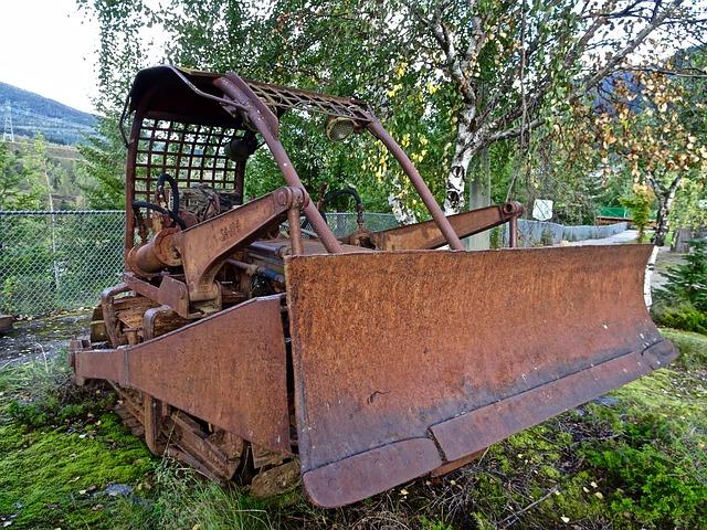 Scraper, Grader, Bulldozer, Rusty, Machinery, Heavy