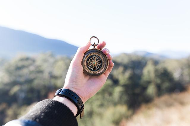 Adventure, Compass, Hand, Macro, Mountain, Outdoors