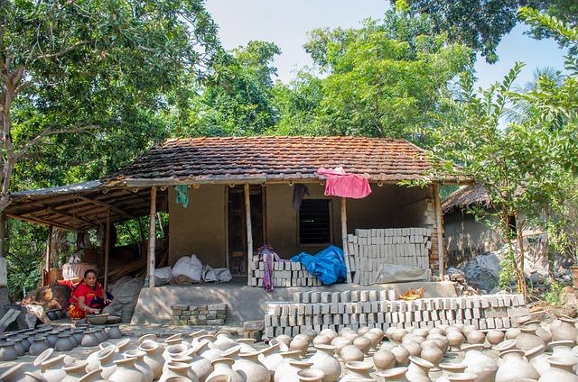 House, Made, Soil, Pot, Women, Tree