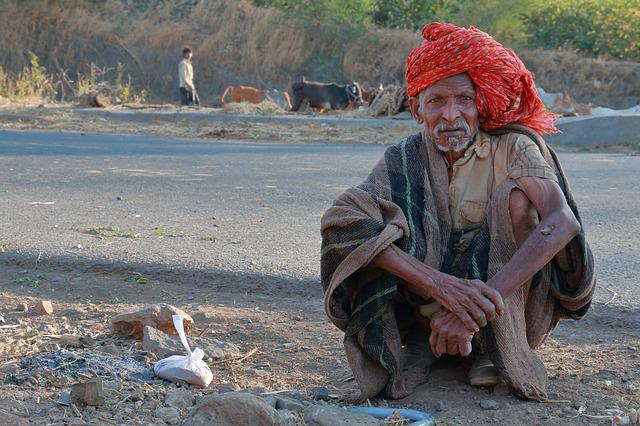 Old Man, Roadside, Herder, Madhya Pradesh, India