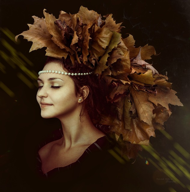 Autumn, Leafes, Colorful Bleter, Beads, Mädhen, Lady