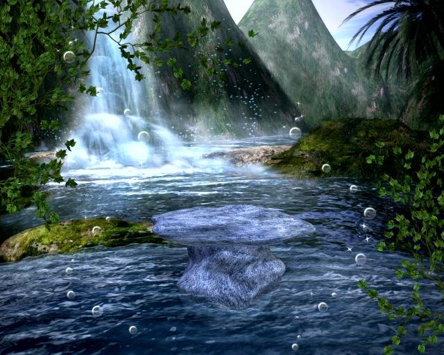 Waterfall, Magical, Enchanted, Landscape, Mountain