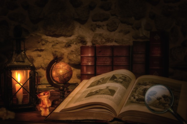 Old Book, Lantern, Magnifying Glass, Globe, Dark
