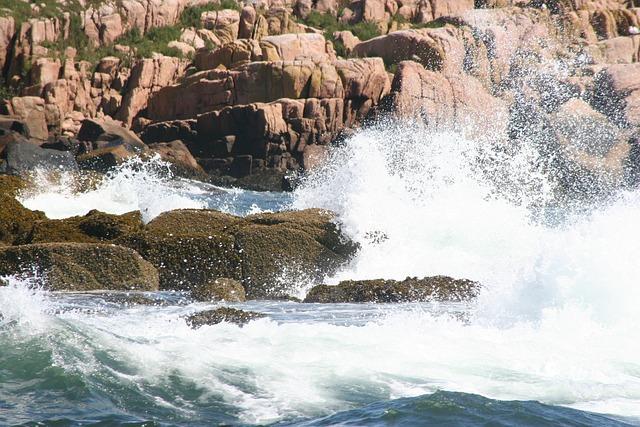 Maine, River, Ocean, Water, Water Splashing, Rocks