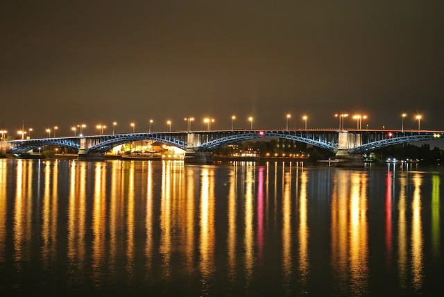 Mainz, Theodor Heuss Bridge, Night Photography