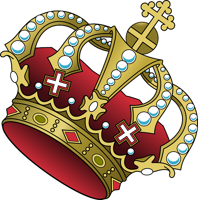 Crown, Cross, Jewelry, Red, Power, Majesty, Tilted