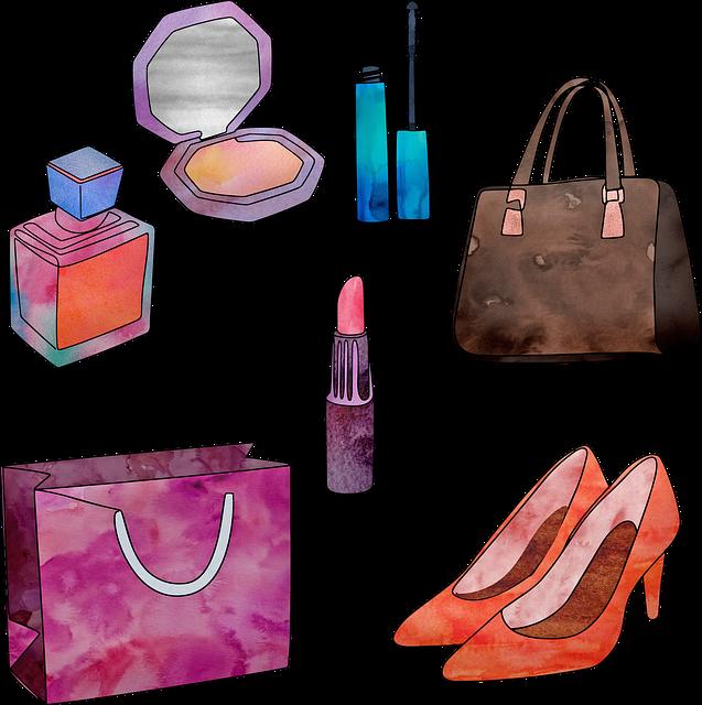 Watercolor Women Accessory, Accessories, Purse, Make Up
