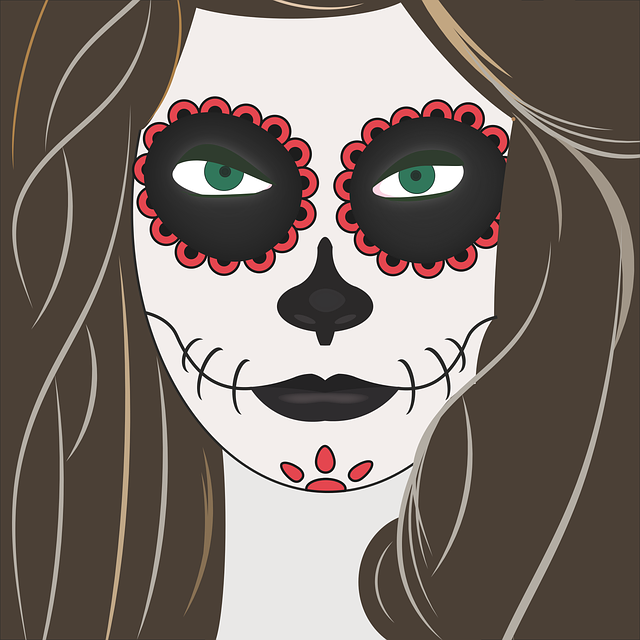 Halloween, Girl, Makeup, Terror, Event, Faces, Black