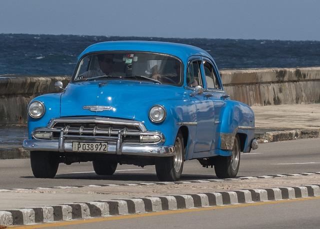 Cuba, Havana, Almendron, Malecon, Classic, Car, Blue
