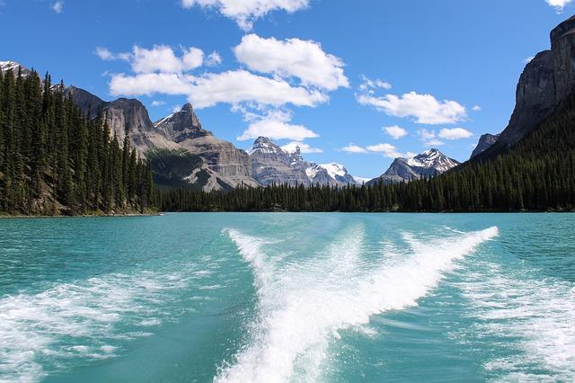 Maligne Lake, Glacier, Wake, Mountain, Canadian