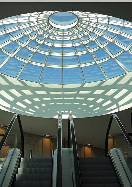 Dome Light, Mall, Shopping Centre, Escalators