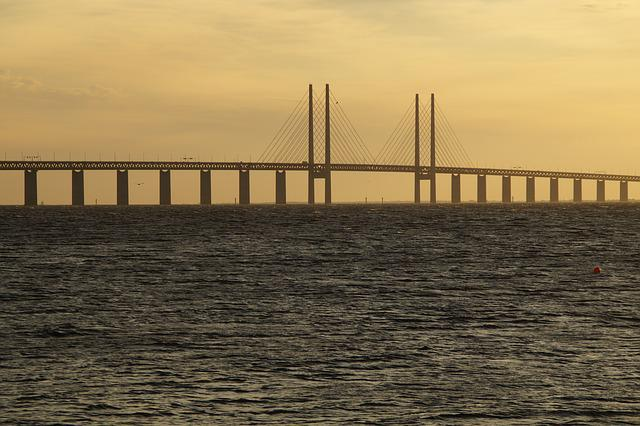 öresund, Oresund Bridge, Bridge, Evening, Malmö