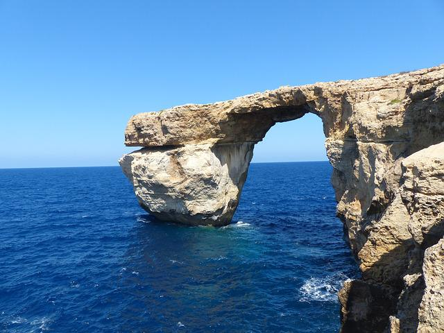 Rock, Cliff, Blue Window, Malta, Gozo, Rock Formation
