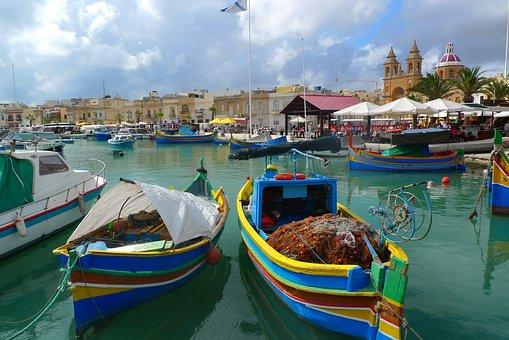 Fishing Boat, Picturesque, Port, Marsaxlokk, Malta