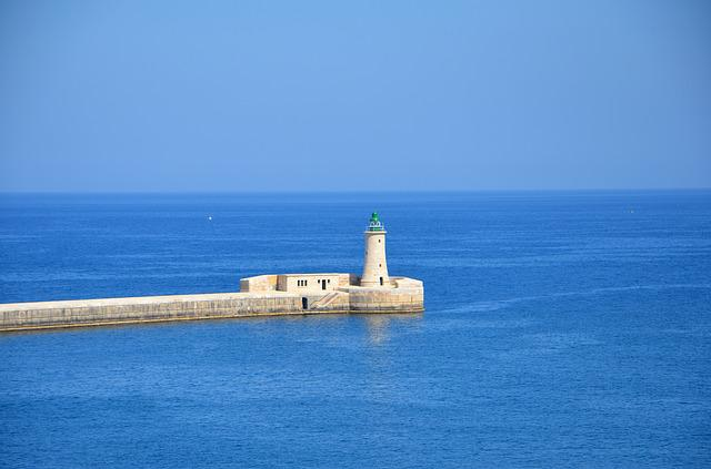 Malta, Lighthouse, Lantern, The Coast, View, Water