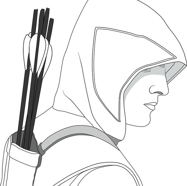 Arrows, Hooded, Male, Man, Quiver