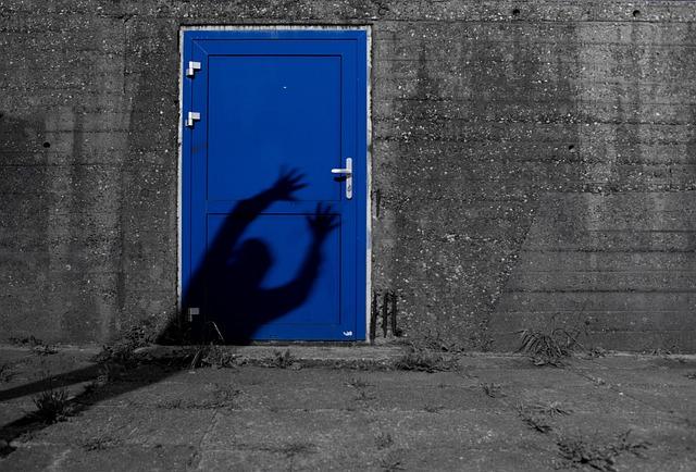 Blue, Door, Shade, Man, Effect, Creepy, Scary, Horror